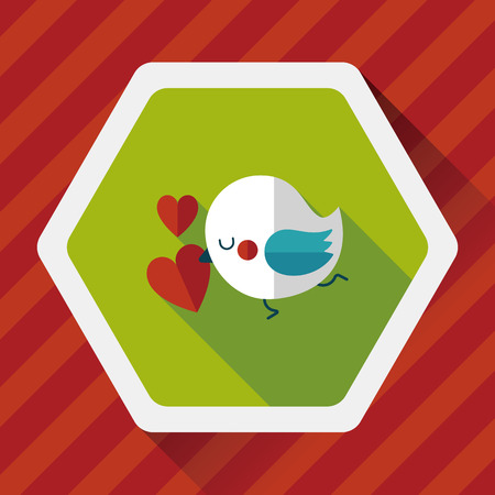 lover: Valentines Day lover bird flat icon with long shadow