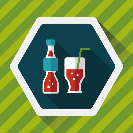 liter: soda drink flat icon with long shadow