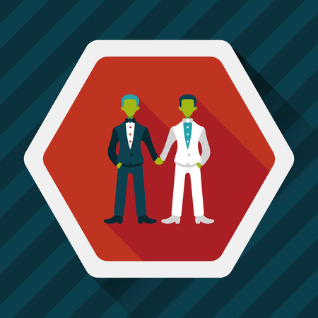 gay marriage: wedding couple flat icon with long shadow
