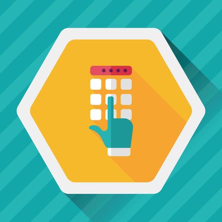 automatic transaction machine: Icono plana ATM con larga sombra Vectores