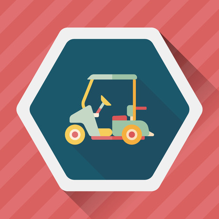 golf cart: Transportation Golf Cart flat icon with long shadow