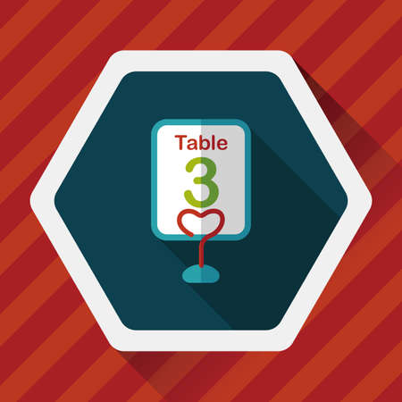 setting table: wedding table sign flat icon with long shadow Illustration