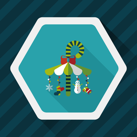 gravitational: Decorative candy cane flat icon with long shadow