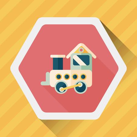 wood railways: Train toy flat icon with long shadow Illustration