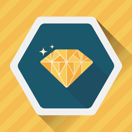 propose: Propose diamond flat icon with long shadow