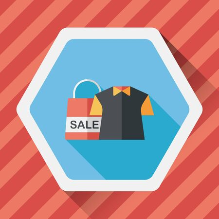 wholesale: shopping clothes flat icon with long shadow