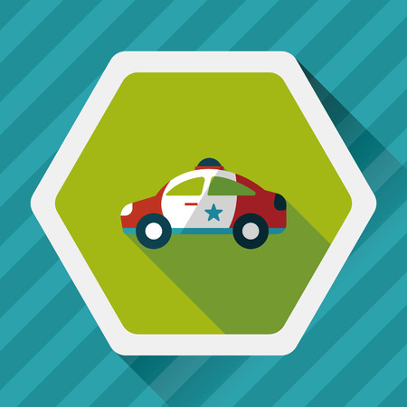motor cop: Transportation police car flat icon with long shadow