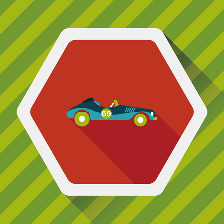 open car: Transportation open car flat icon with long shadow