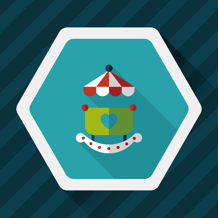 cradle: baby cradle bed flat icon with long shadow Illustration