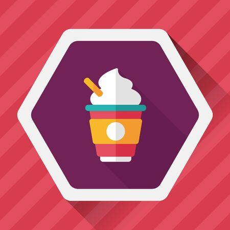 take out: hot milk cream coffee flat icon with long shadow