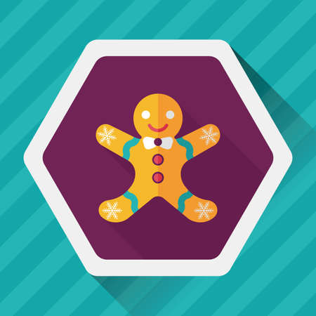 gingerbread man: Gingerbread man flat icon with long shadow Illustration