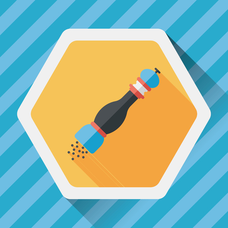 condiments: kitchenware pepper bottle flat icon with long shadow,eps10 Illustration