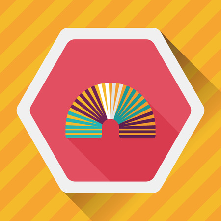 coil spring: Rainbow spiral flat icon with long shadow,eps10 Illustration