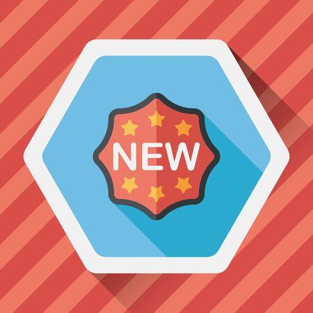 new sticker flat icon with long shadow,eps10 Ilustracja