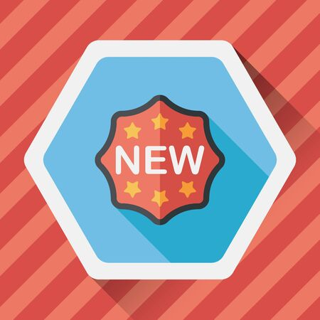 new sticker flat icon with long shadow,eps10 Vettoriali