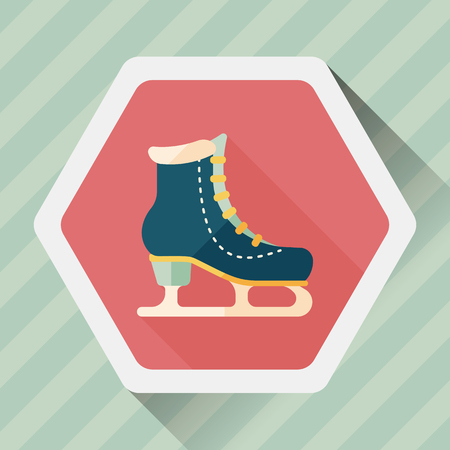 glide: ice skate flat icon with long shadow,eps10