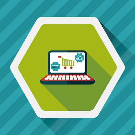 commerce communication: online shopping flat icon with long shadow,eps10
