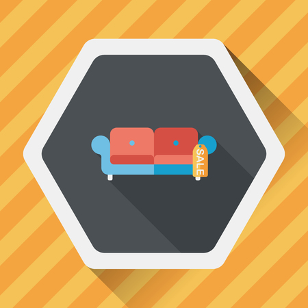 armchair shopping: shopping sale sofa flat icon with long shadow,eps10
