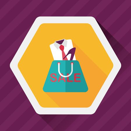 clothed: shopping suit flat icon with long shadow,eps10