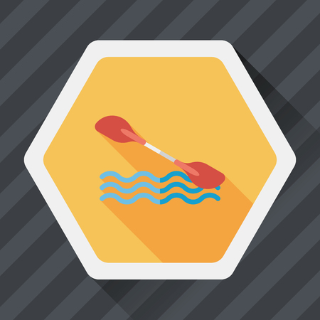 boating: Boating paddle flat icon with long shadow, eps10 Illustration