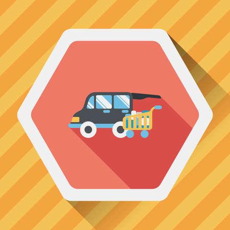 shoppingcart: shopping cart flat icon with long shadow,eps10