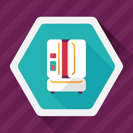 coolness: Kitchenware refrigerator flat icon with long shadow,eps10 Illustration