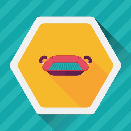 bakvormen flat icoon met lange schaduw, eps10 Vector Illustratie