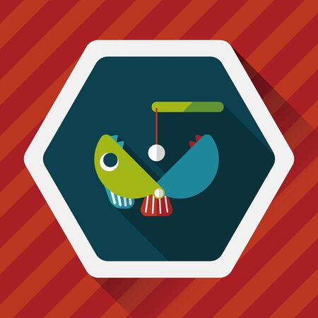 angling rod: Fishing toy flat icon with long shadow,eps10