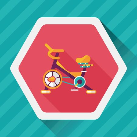 hometrainer: Exercise bike flat icon with long shadow,eps10