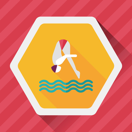 plunge: Jump Diving flat icon with long shadow,eps10