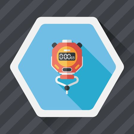overtime: stopwatch flat icon with long shadow,eps10