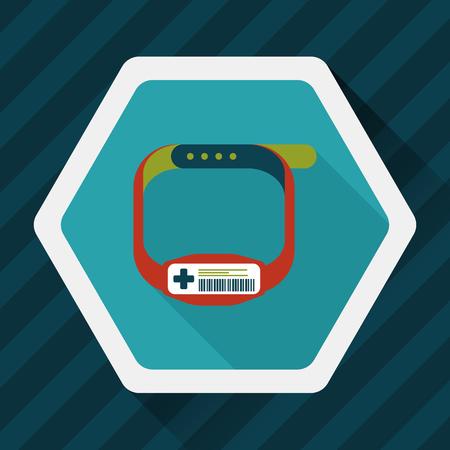 bracelet: Patient ID Bracelet flat icon with long shadow
