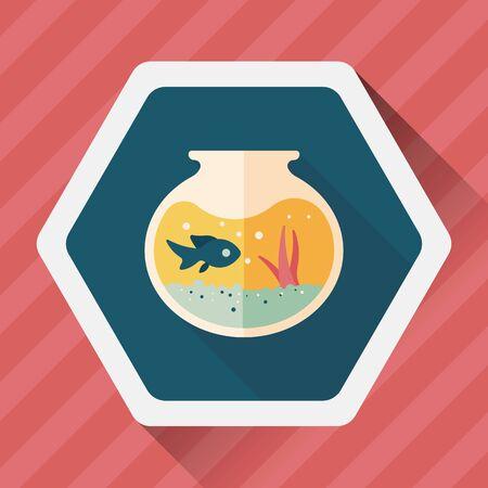 fish bowl: Pet fish bowl flat icon with long shadow,eps10 Illustration