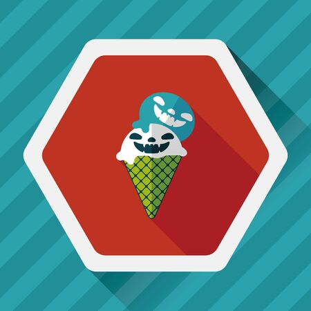 vamp: Halloween ice cream flat icon with long shadow,eps10