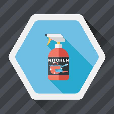 dishwashing liquid: kitchenware bottle soap flat icon with long shadow,eps10