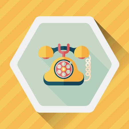 retro telephone: Retro telephone flat icon with long shadow,eps10 Illustration