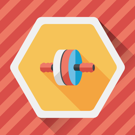 abdominal muscle exercises: exercise roller flat icon with long shadow,eps10 Illustration