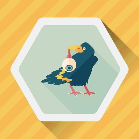 globo ocular: Cuervo de Halloween y el icono plana globo ocular con una larga sombra, eps10