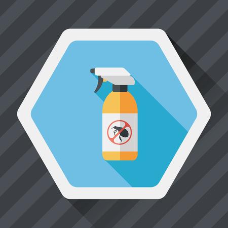 drug control: Pet flea spray flat icon with long shadow,eps10