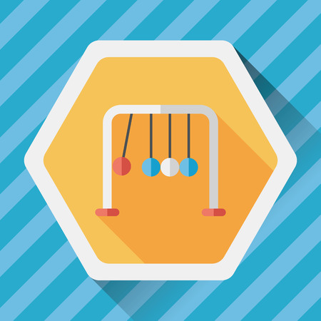 Newtons Cradle flat icon with long shadow,eps10