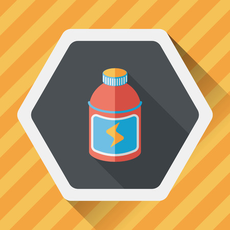 fizz: energy drinks flat icon with long shadow,eps10