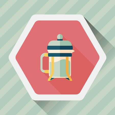 coffee maker: coffee maker flat icon with long shadow,eps10