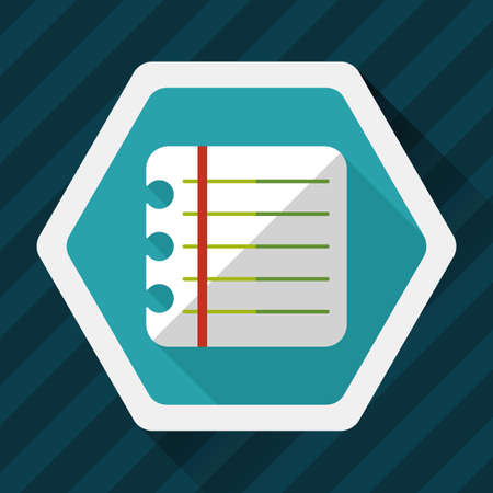 periodicals: notebook paper flat icon with long shadow,eps10