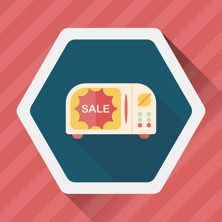 microwaves: shopping slae microwaves oven flat icon with long shadow,eps10 Illustration