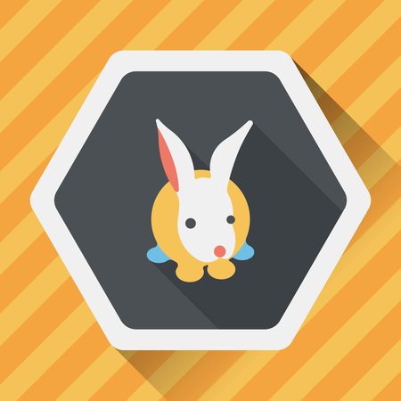 animal themes: Pet rabbit flat icon with long shadow,eps10