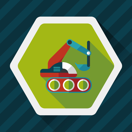 land mine: Excavator digger flat icon with long shadow,eps 10