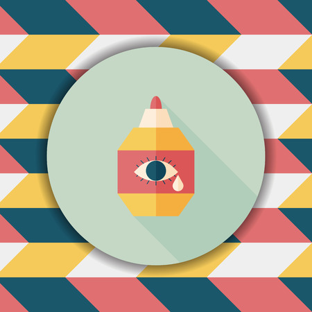 therapeutic: Eye Drop flat icon with long shadow,eps10