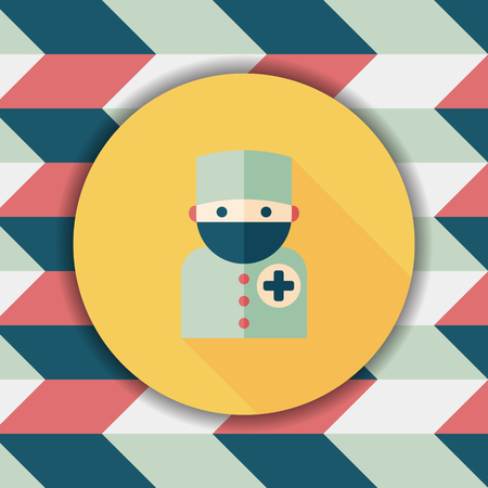 surgical mask: medical people with stethoscopes flat icon with long shadow, eps10