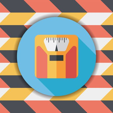 analog weight scale: weight scale flat icon with long shadow,eps10