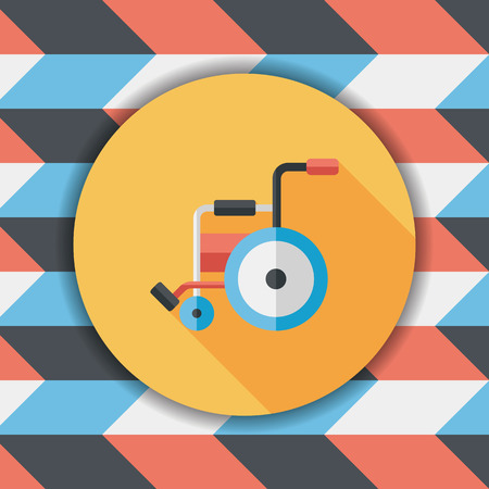 impairment: Wheelchair flat icon with long shadow,eps10